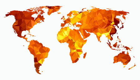 World map triangulated silhouette. Isolated on white background. Illustration