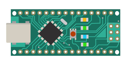 DIY electronic mini board with a micro-controller, LEDs, connectors, and other electronic components, to form the basic of smart home, robotic, and many other projects related to electronics. Vector. Stock fotó - 98863921