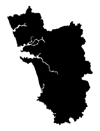 Goa map vector outline. Isolated on background.