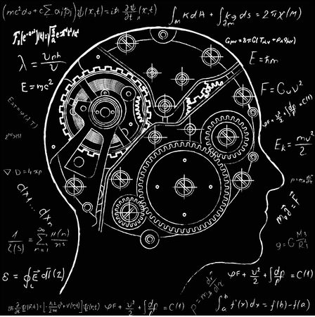 Gear repeating unit of mechanical watches depicted inside the human head It symbolizes the process of thinking, the emergence of ideas, decision-making and artificial intelligence.