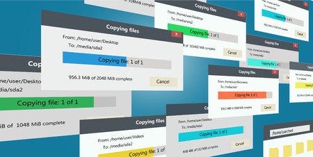 Backup files copying progress bars Stock Illustratie