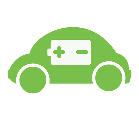 Green electric car with positive and negative sign 向量圖像