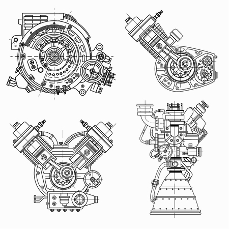 Set of drawings of engines for engineering design and illustration of science ideas