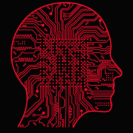 Artificial Intelligence. Image of human head outline with abstract circuit board