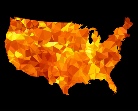 USA map made of triangulated silhouette. Isolated on black