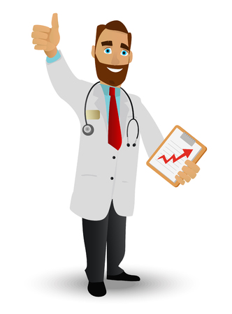 Portrait of a smiling doctor in a lab coat with a stethoscope, and tablet - folder for records on a white background