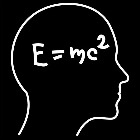 Scientific thinking. Outline of head filling formulas. Can illustrate topics related to science.