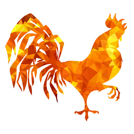 Red rooster vector low poly triangulation