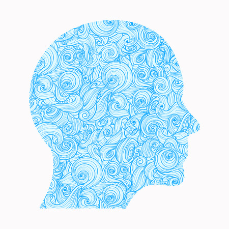 Contour of the human head, inside of which there is a pattern of interlocking waves. Ilustrace