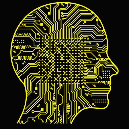 Artificial Intelligence. The image of human head outlines, inside of which there is an abstract circuit board. 向量圖像
