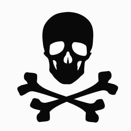 Skull and bones - a sign of danger. known as funny roger. Illustration isolated on white background. 向量圖像
