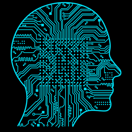 Artificial Intelligence. The image of human head outlines, inside of which there is an abstract circuit board 向量圖像