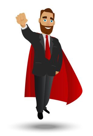 Businessman superhero flyes. A character on a white background isolation Ilustrace