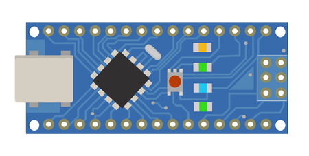 DIY electronic board with a micro-controller, LEDs, connectors, and other electronic components. To form the basic of smart.