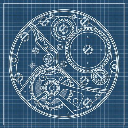 Mechanical watches plan with gears. Drawing of the internal device. It can be used as an example of harmonious interaction of complex systems, technical, engineering and scientific research, high-tech.