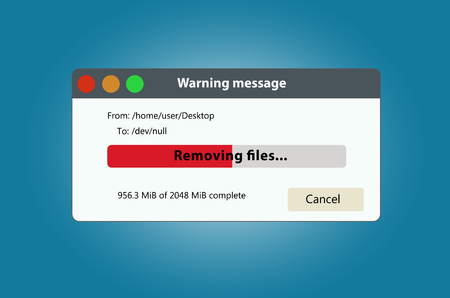 Remove files and data progress bar. It can be used to illustrate the delete or loss of data.