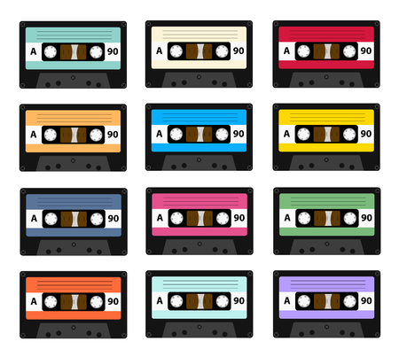 Set of audio cassette old tape recorders used in the 80s of the 20th century. It can be used as an illustration of the history of the technology of sound reproduction technology.