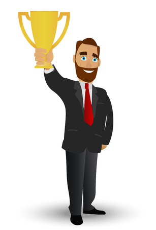 Businessman holding a gold cup, symbolizing success, winning and high achievement. The character is depicted in a cartoon style flat.