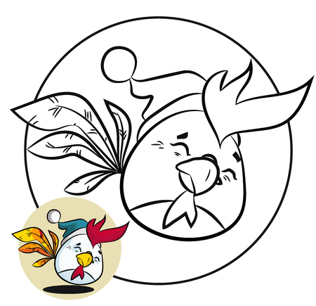 Christmas coloring page and New Year fun bird.