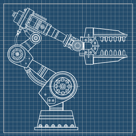 Industrial robot hand vector image on the isolated background.