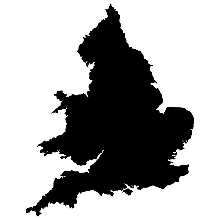 England map vector outline. Black silhouette isolated on white background