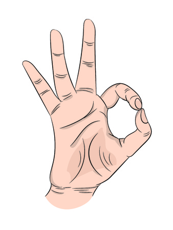 Ok human palm gesture depicting approval consent on isolated white background