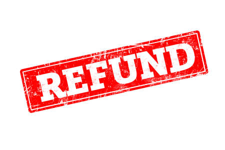 REFUND written on red rubber stamp with grunge edges.