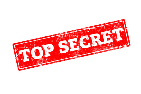secret word: TOP SECRET word written on red rubber stamp with grunge edges.