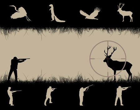 deer hunting: Frame with sniper sight, animals and hunters, illustration