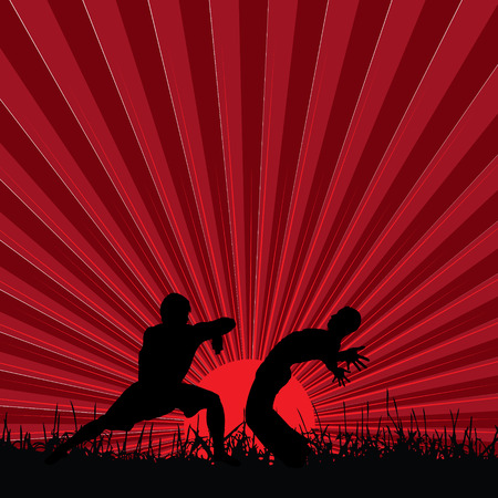 kung fu at sunset,  illustration Vector