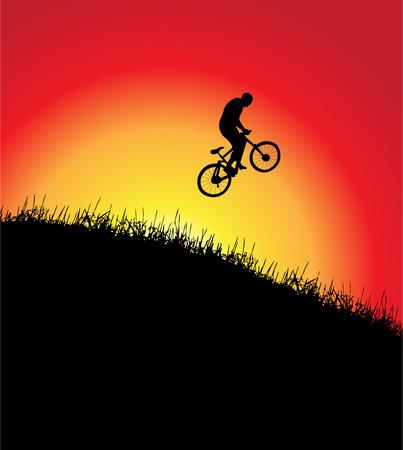 mountain biking: Bicycle frame, sunset, illustration