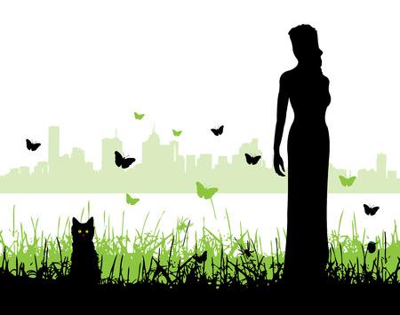 women and a kitten,   illustration Vector