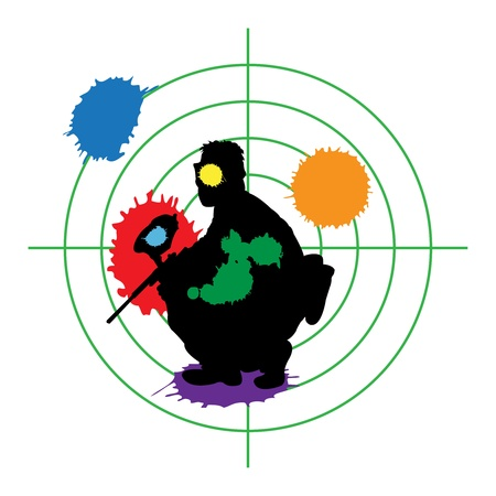 paintball silhouette and a target, vector illustration Stock Vector - 9542348