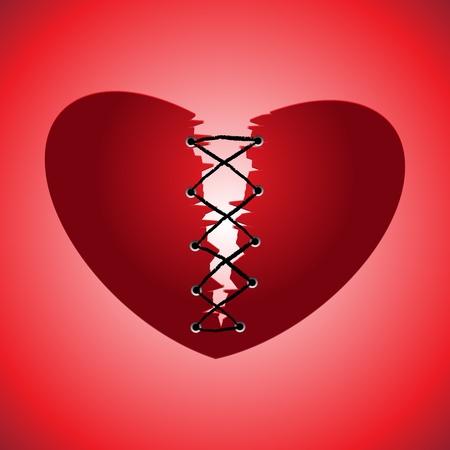 heart failure: Broken heart on red background, vector illustration