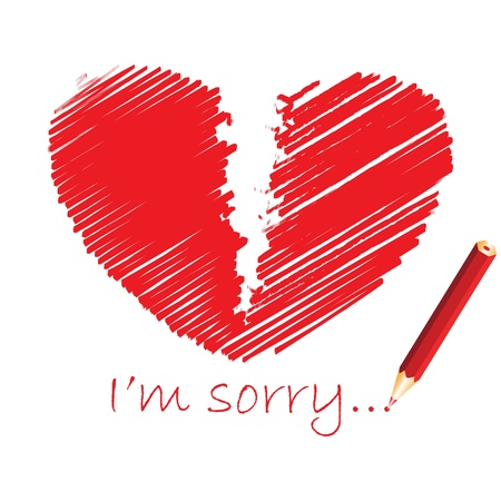 heart broken: Red broken heart, vector illustration
