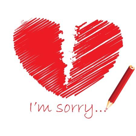 insuficiencia cardiaca: Rojo coraz�n roto, ilustraci�n vectorial
