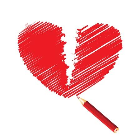Red broken heart, vector illustration