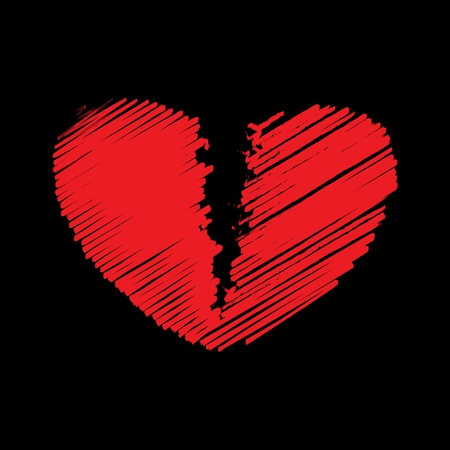 Red broken heart, vector illustration
