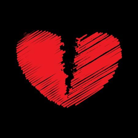 corazon roto: Rojo coraz�n roto, ilustraci�n vectorial
