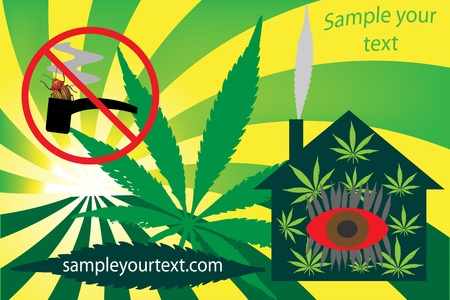 Frame with a place for your text, cannabis hallucinations =) Vector illustration Vector