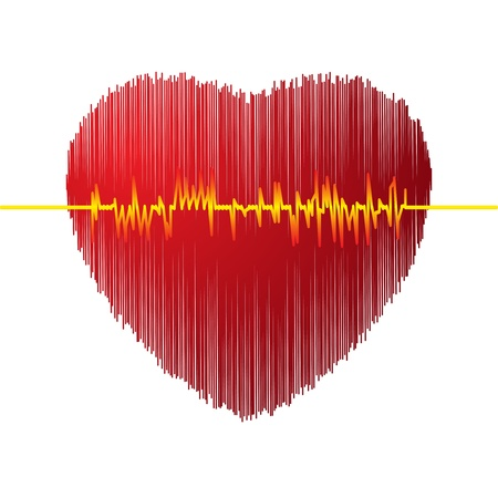 taking pulse: Heart with cardiogram, vector illustration