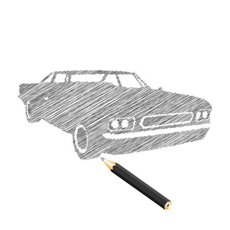 dirty car: Hand-drown car sketch, vector illustration