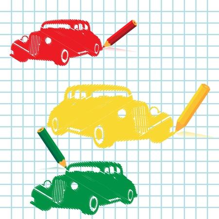 Manuscript car with pencil, vector illustration Vector