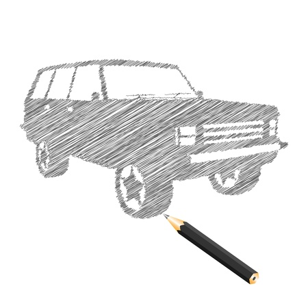 Hand-drown car sketch, vector illustration Vector