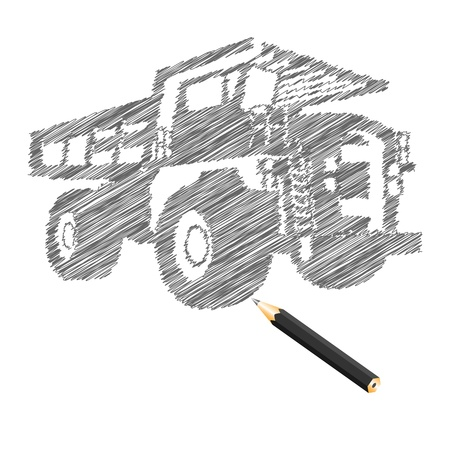 dirty car: Hand-drown cargo truck sketch, vector illustration