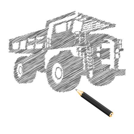 construction paper art: Hand-drown cargo truck sketch, vector illustration
