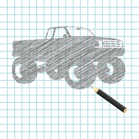 hand truck: Hand-drown monster truck sketch, vector illustration Illustration