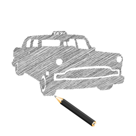 Hand-drown taxi car sketch, vector illustration Vector