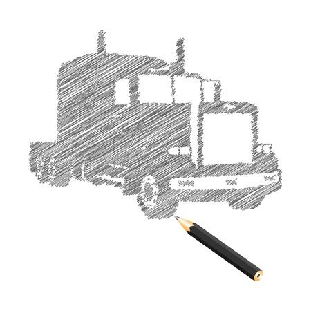 Hand-drown truck sketch, vector illustration Stock Vector - 9542911