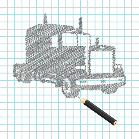 Hand-drown truck sketch, vector illustration Stock Vector - 9542912